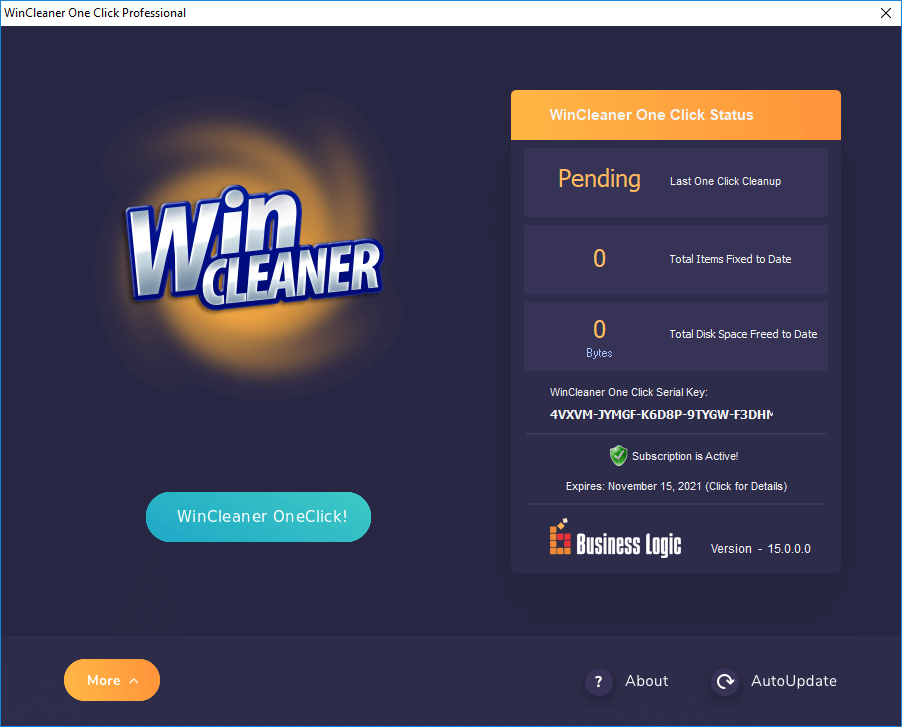 WinCleaner for Windows Main Screen